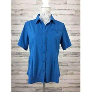 The North Face L Blue Button Shirt Hiking Vented